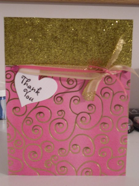 Pink and Gold swirl Thank You Card